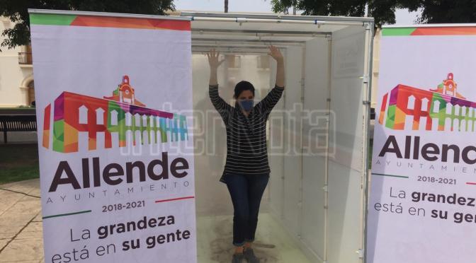 INSTALAN UNA CABINA DE SANITIZACIÓN EN EL MUNICIPIO DE ALLENDE, N.L.