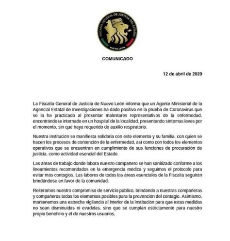DA POSITIVO A CORONAVIRUS AGENTE MINISTERIAL DE NUEVO LEÓN