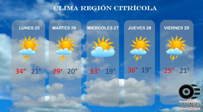 ¡INFORMATE! SOBRE EL CLIMA EN ESTA SEMANA EN LA REGIÓN CITRICOLA.