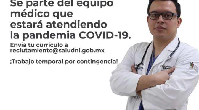 SECRETARÍA DE SALUD NL LANZA CONVOCATORIA PARA CONTRATAR PERSONAL MÉDICO.