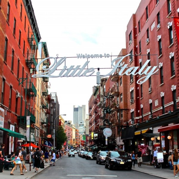 The little Italy sign in Manhattan