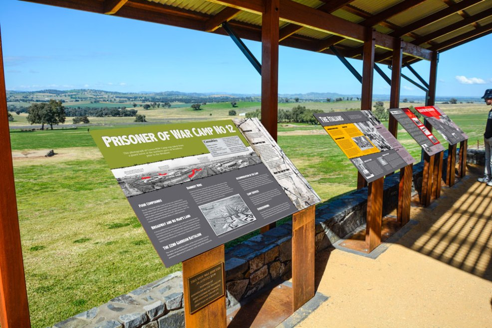 Cowra POW Camp Viewing Platform war history signs