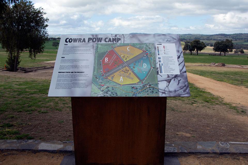 Cowra POW Camp Map Layout Heritage Signage