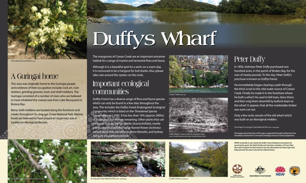 Duffys Wharf in Kuring-gai Chase NP - interpretive sign