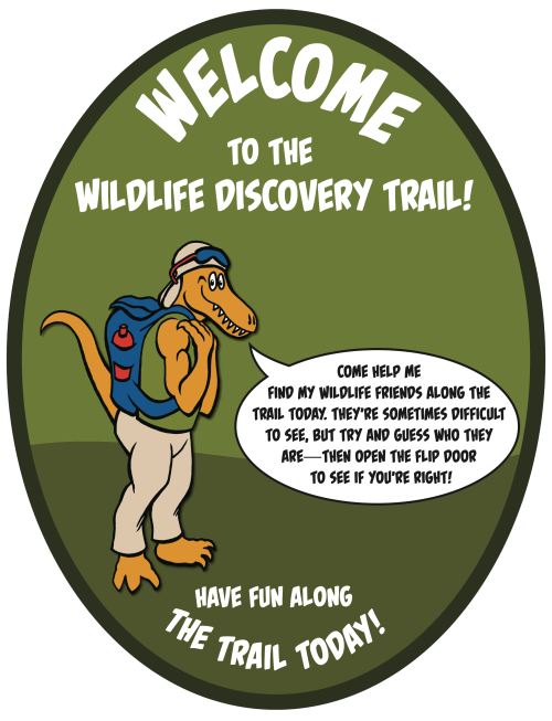 Signage at the entrance to the Wildlife Discovery Trail in Dinosaur Valley State Park