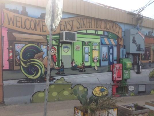 Mural in Austin's East 6th St. Biz District