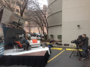 Setting up the E! News trailer and stage