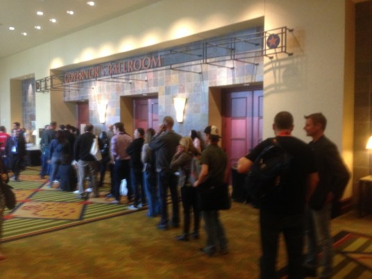 """The line for the """"Top 10 Austin Startups"""" session"""
