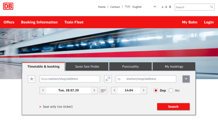 Deutsche Bahn Seat Reservations Search Form