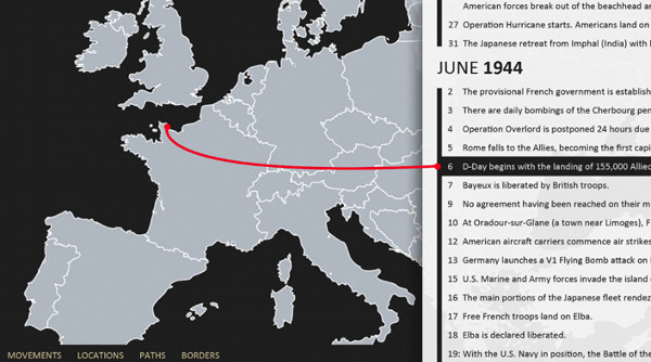 """Rascunho da """"geospatial timeline"""" com dados da Segunda Guerra Mundial"""