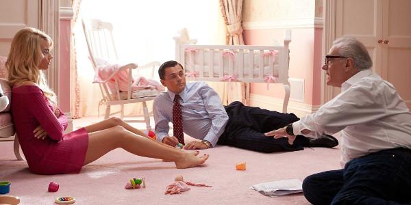 Margot Robbie, Leonardo DiCaprio e o diretor Martin Scorsese