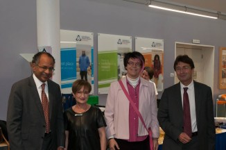 Professor Rama Thirunamachandran (VC of CCCU), Professor Naomi Goldenberg (Ottawa), Professor Bee Scherer (Director of INCISE) and Professor Tony Lavender (Pro Vice-Chancellor)