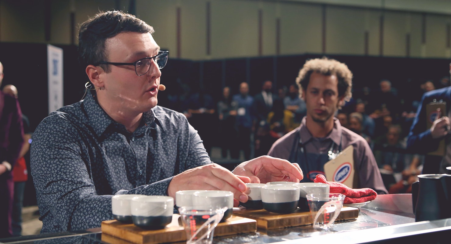Kyle Ramage at the United States Barista Championship. Image credit: Sprudge Media Network
