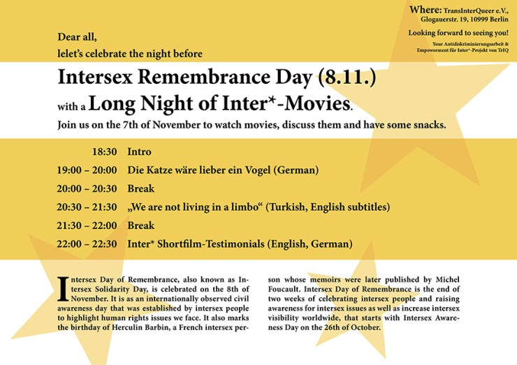 Long night of inter*movies, flyer