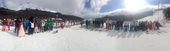 Pano at the bottom of the demo hill with the crowds looking on - interski 2015, Ushuaia