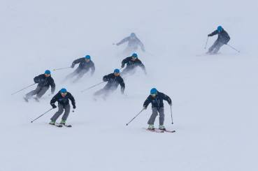 the ski team on the demo hill