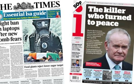 95261222 index - Newspaper headlines: Laptop bomb threat and 'the killer who turned to peace'