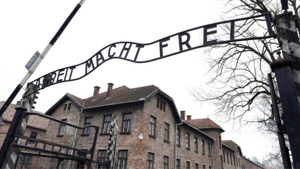 95307562 auschwitz - Naked demonstrators kill sheep under Auschwitz gates