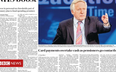 102088095 daily telegraph - Newspaper headlines: PM 'under fire for Brexit dividend claim' and 'We Kane Do It'