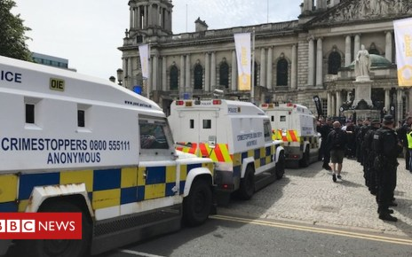 102172792 protest3 - Smoke bombs thrown during Belfast demonstrations