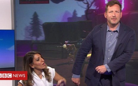 102313487 p06crbxn - Fortnite video game: Ed Vaizey demonstrates floss dance move