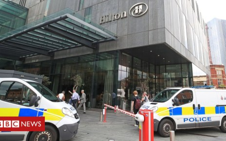 102656486 hilton2 manc pa - Beetham Tower: Five released after Manchester hotel attack