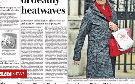 102694026 telegraph - Newspaper headlines: 'Deadly heatwaves' and 'plague of rats'