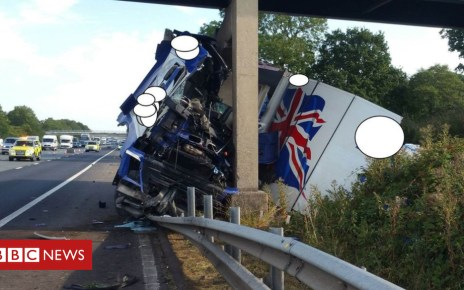 102698411 lorrycrashnwmotorwaypoliceblob - M6 closed in Lancashire as lorry crashes into bridge