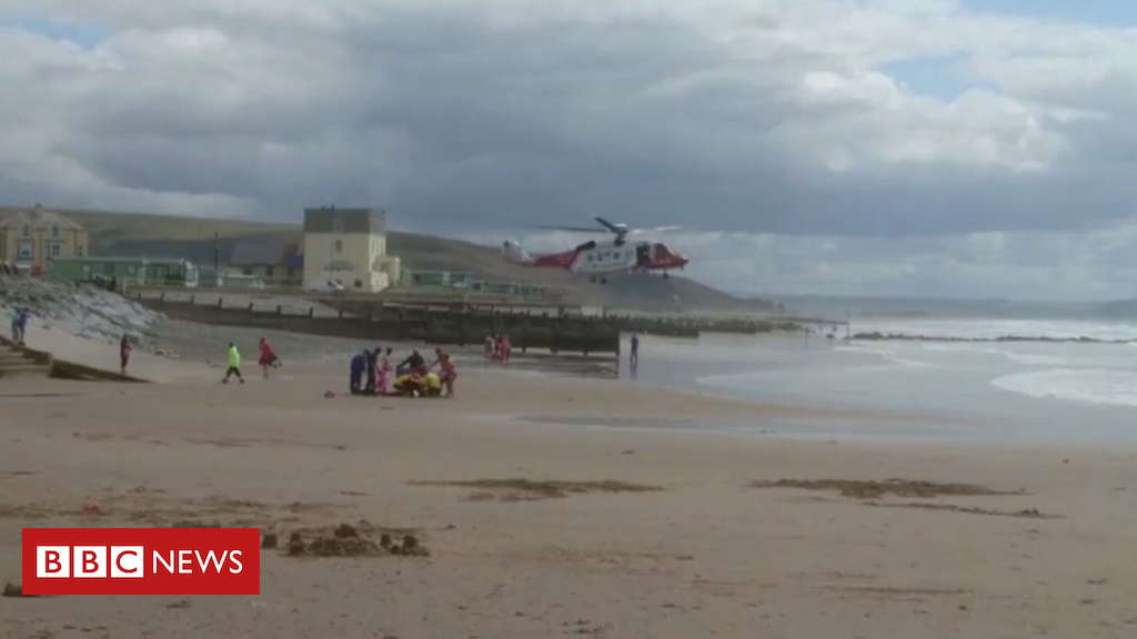102781832 heli - Teen dies days after sea rescue at Tywyn North