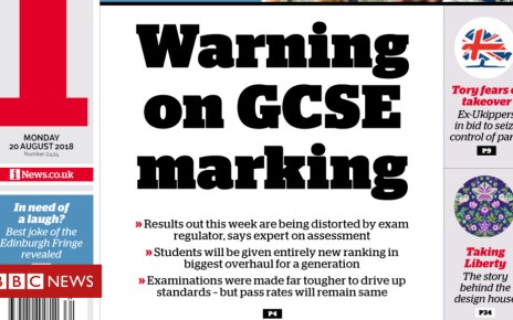 103080918 ifront200818 - Newspaper headlines: GCSE 'warning' and a 'miracle rescue'