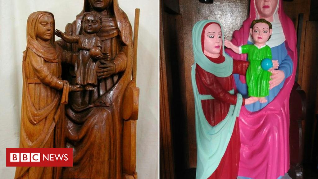 103341473 mediaitem103341472 - Spain parishioner botches Jesus and Mary statue restoration