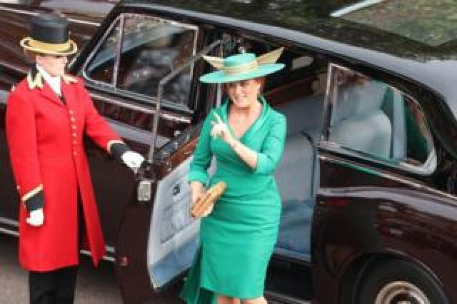 "Sarah Ferguson arrives for the wedding of Princess Eugenie to Jack Brooksbank at St George""s Chapel in Windsor Castle"