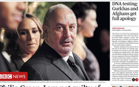 104037107 26oct1front01 - Newspaper headlines: 'Unmasked' Sir Philip Green on the front pages