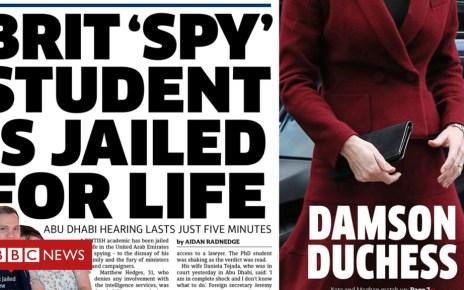 104439230 met22 - Newspaper headlines: Matthew Hedges case on front pages
