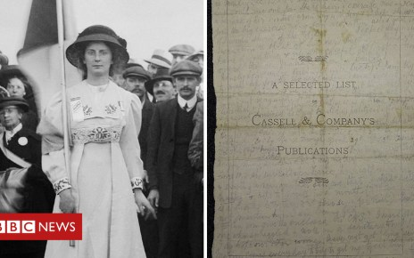 104463799 comp - Suffragette's force-feeding note on display
