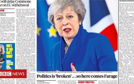 104703556 times - Newspaper headlines: Crucial Brexit vote to be delayed?