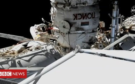 104738405 walk5 - ISS: Spacewalk cosmonauts investigate mystery hole