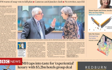 104821878 ft - Newspaper headlines: May and Juncker clash and 'Brexit charge' for Brits