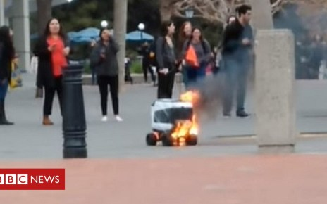 104844675 4844672 - Kiwibot delivery robot catches fire after 'human error'
