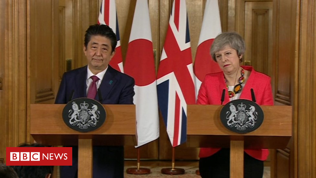 105150538 abe may bbc - Wylfa: Theresa May 'focusing on Brexit not nuclear plant'