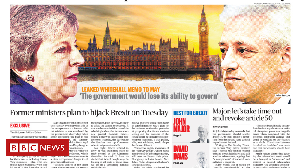 105163598 sundaytimes - Newspaper headlines: Brexit 'coup', and talk of Tory split