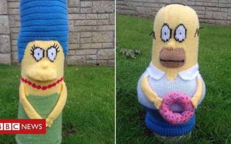 105738557 simpsons - Bollard cover knitter determined to keep knitting despite vandals