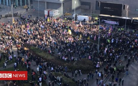 105762729 trprotest - Tommy Robinson holds Salford protest against BBC Panorama