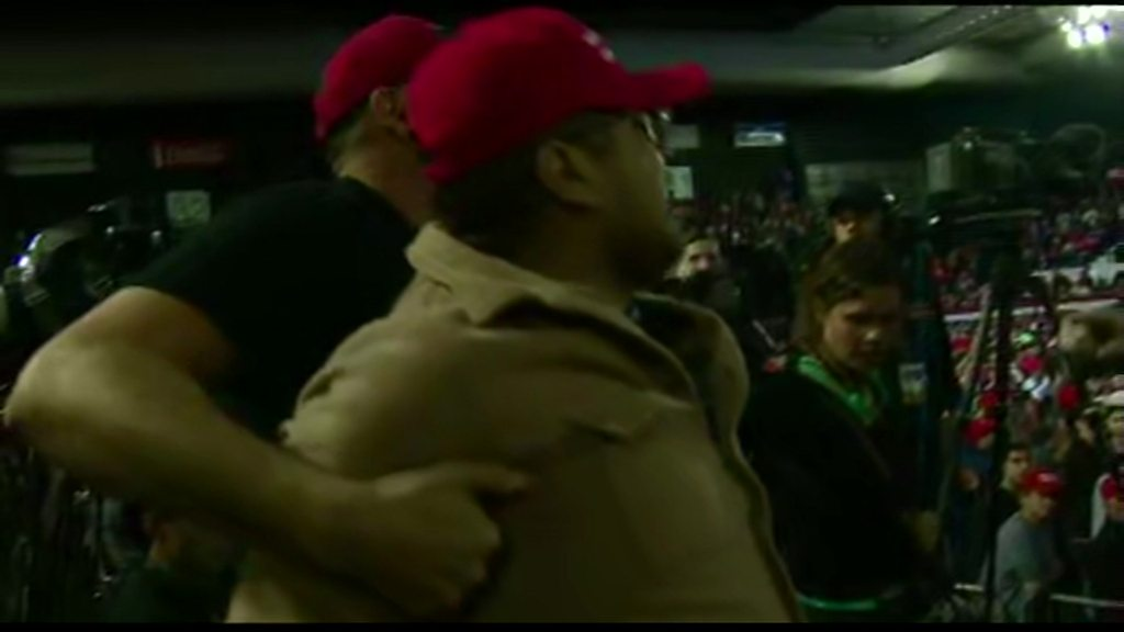 p070mgvr - Trump supporter attacks BBC cameraman at El Paso rally