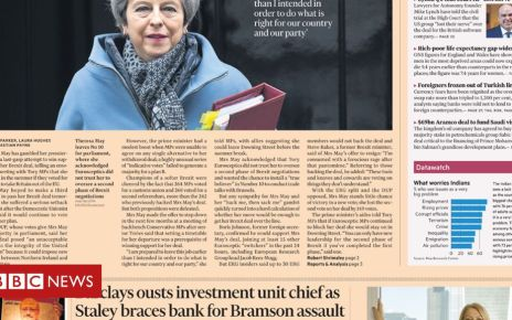 106205316 ft28b - Newspaper headlines: Theresa May's Brexit resignation pledge