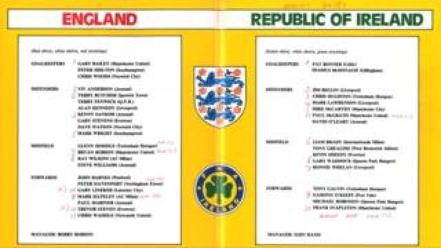 Teamsheet from England-Ireland game in 1985