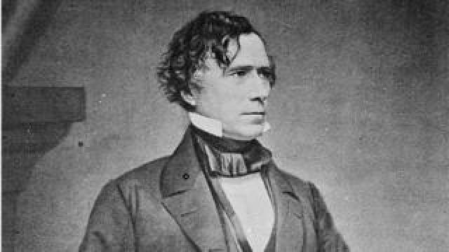 Franklin Pierce (1804-1869) American lawyer and politician, 14th President of the United States 1853-1857 . Three-quarter length portrait of Pierce seated and looking towards the right, 1855-1865. (Photo by Universal History Archive/Getty Images)