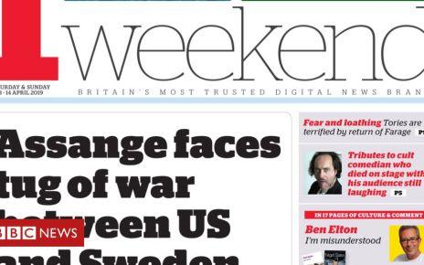 106435419 i13 - Newspaper headlines: Julian Assange 'tug of war'