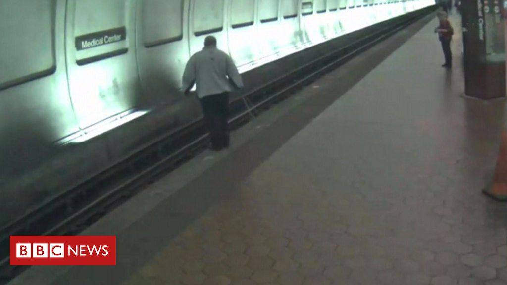 106462957 p076l8h5 - Visually impaired man rescued from oncoming train by passengers