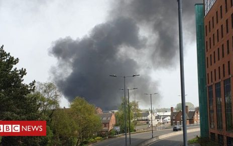 106546741 derbyfire - Fire crews tackle fire and explosions in Derby city centre